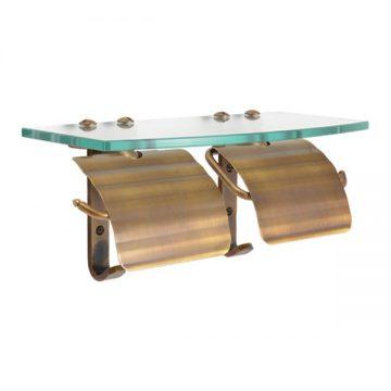 横2連のトイレットペーパーホルダーにガラスシェルフが付いた、美しくも便利な一品です。