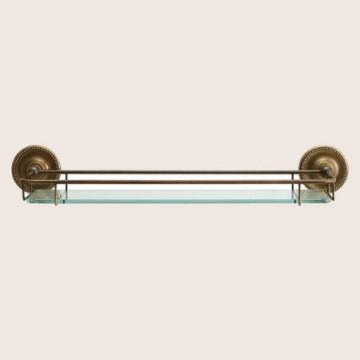 アンティーク仕上げの真鍮製ガラスシェルフ WW PB AB