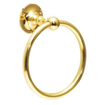 光沢があるゴールド色の真鍮製タオルリング SB
