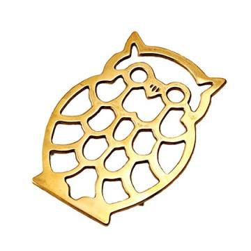 かわいいデザインの真鍮製鍋敷き フクロウ2