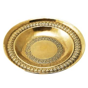 幾何学模様が美しい真鍮製飾り皿7586