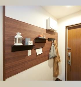 洗面所に壁面マグネットパネル施工例