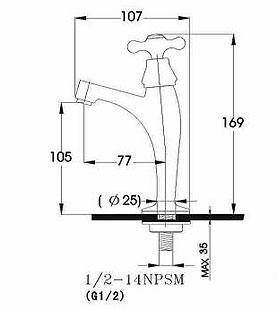 水栓金具J-19の寸法図