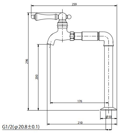 水栓金具J-23の寸法図